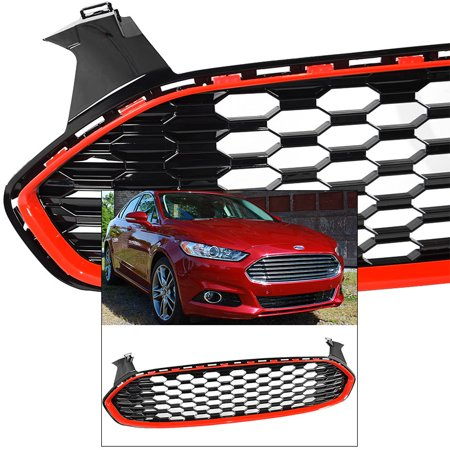 - Front Grille for Ford Fusion Mondeo 13-16 Mustang Style 1 Red Trim Glossy Honeycomb