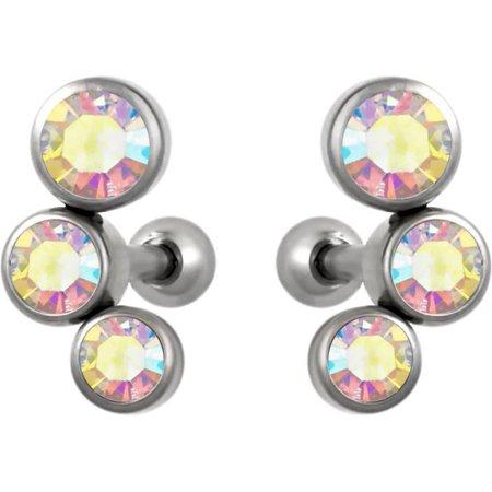 Set of Cartilage Stud Earrings: 16g 6mm Surgical Steel Triple Aurora Borealis CZ Crystal Earrings - Aurora Borealis Crystal