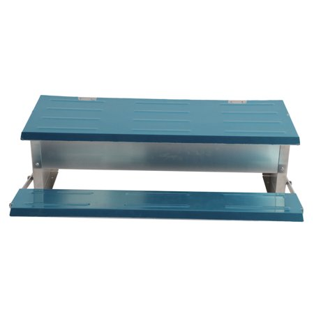 Automatic Chicken Feeder Treadle Self Open Aluminum Feeder Feeding Trough Blue & Silver ()