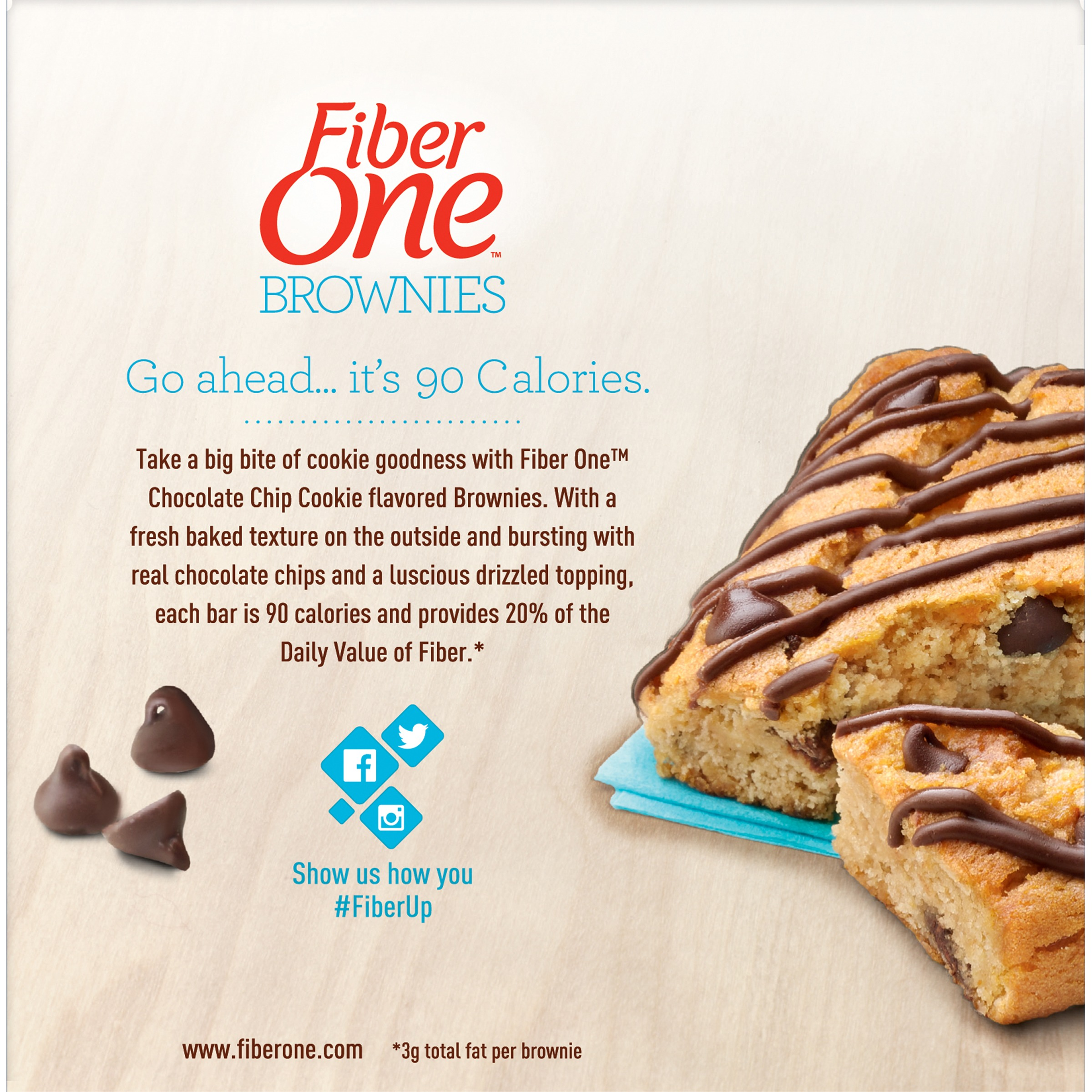 Fiber One 90 Calorie Brownie Chocolate Chip Cookie 6 - 0.89 oz ...