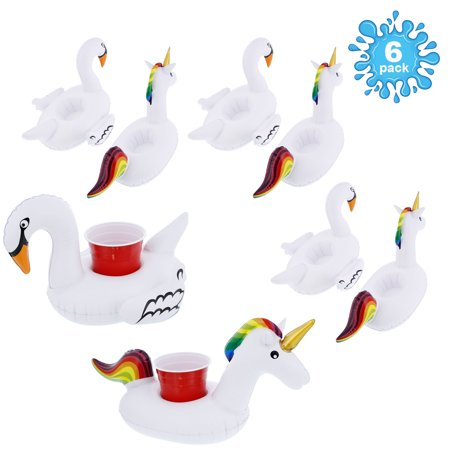 U.S. Pool Supply Inflatable Floating Unicorn & Swan Drink Holder Set (6 Pack) - 3 each Rainbow Unicorns & Rainbow Swans - Parade Float Supplies Cheap