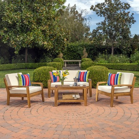 Parma 4 Piece Outdoor Wood Patio Furniture Chat Set with Water Resistant Cushions, Beige ()