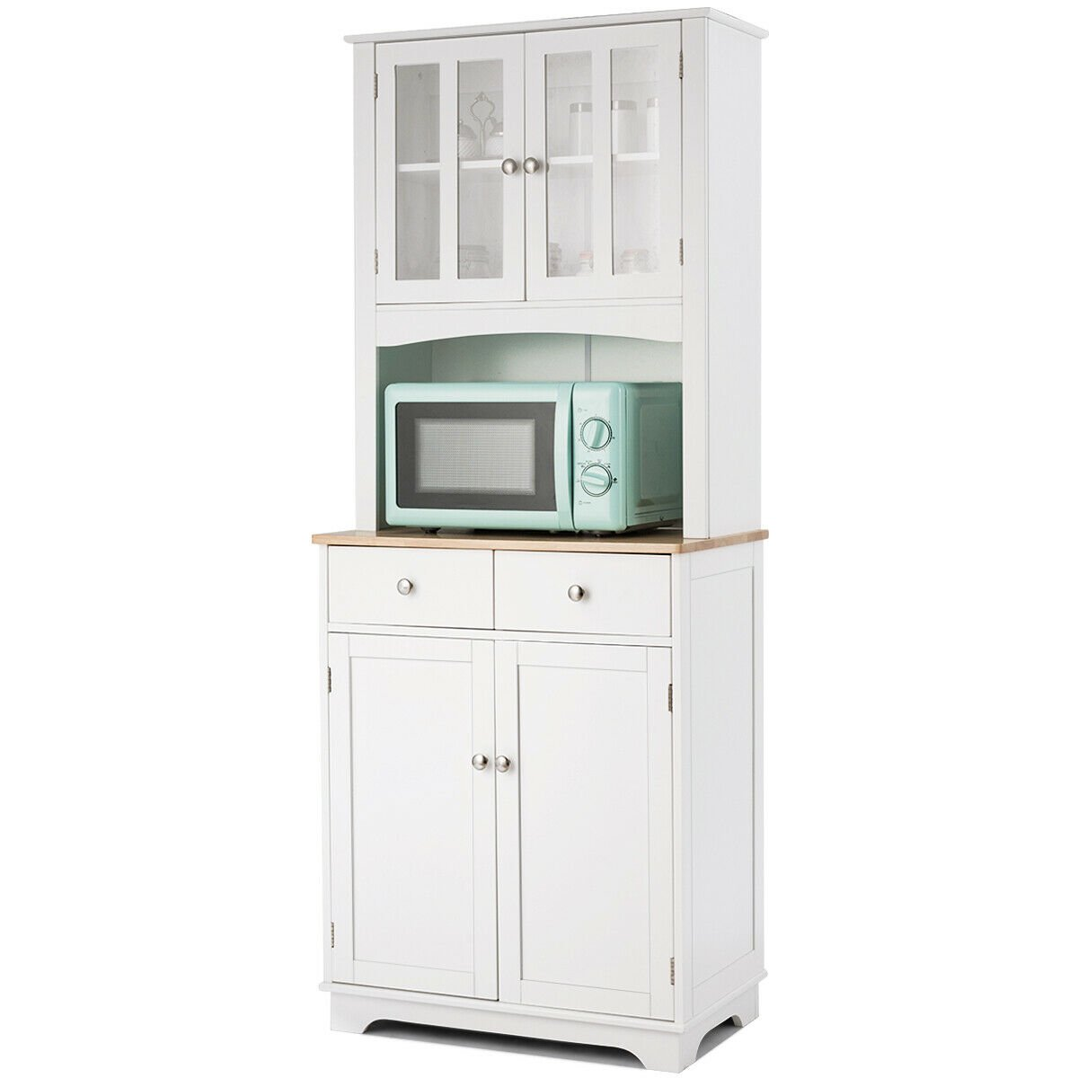 Gymax Buffet And Hutch Kitchen Storage Cabinet W Microwave