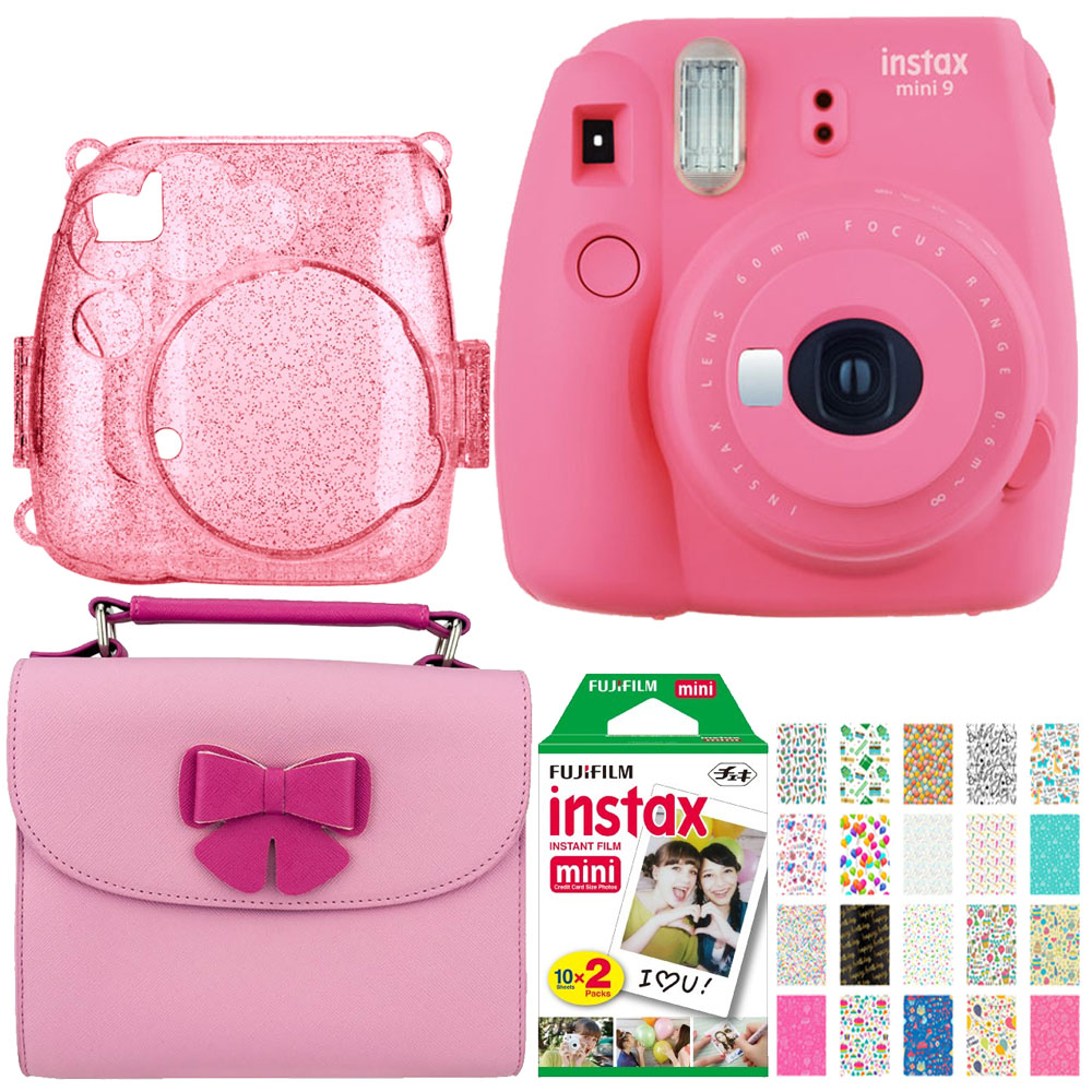 Perfect Gift! Use your Creativity! Fujifilm Instax Mini 9 Pink Camera + Mini Instant Film Twin Pk+ Matching Butterfly Case + B-day Themed Photo Stickers + Pink Glitter Case Designed for Fuji Mini 8/9
