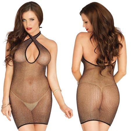 Keyhole Beaded Halter Top - Leg Avenue Womens Lurex Shimmer Net Keyhole Twist Halter Mini Dress