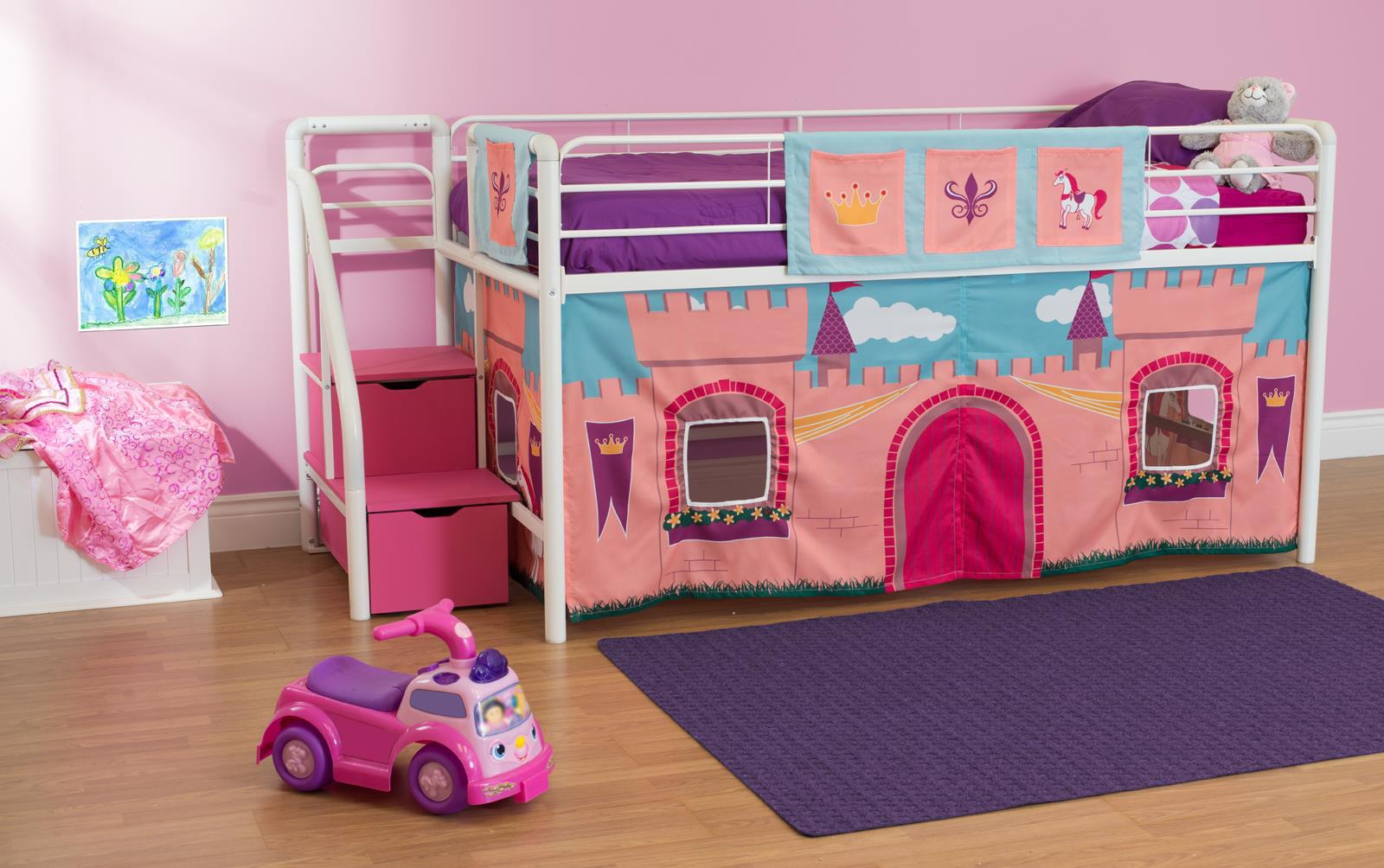 Dhp Junior Metal Loft Bed With Storage Steps And Princess Castle Curtain Set Twin White Pink Walmart Com Walmart Com