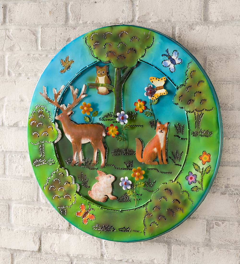 3-D Lighted Woodland Recycled Oil Drum Lid Wall Art