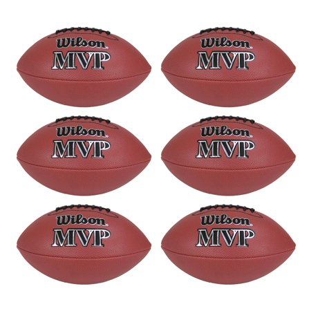 New Football Ball - Wilson MVP Junior Size Leather Composite American Sport Football Ball (6 Pack)