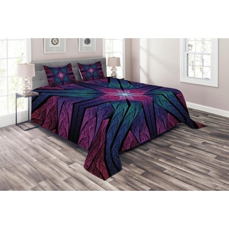 Fractal Coverlet Set, Psychedelic Colorful Sacred Symmetrical Stained Glass Figure Vibrant Artsy Design, Decorative Quilted Bedspread Set with Pillow Shams Included, Plum Indigo, by Ambesonne ()