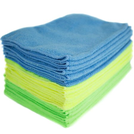 Microfiber Cleaning Cloths (24-Pack), Plush, super-soft microfiber cloths, best for cleaning & dusting the kitchen, home, car, bath, glasses and more By