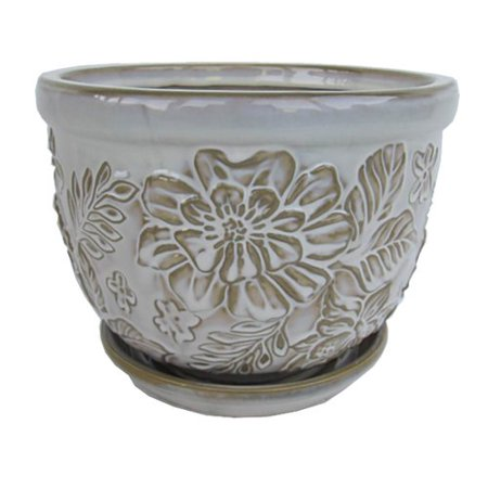 Better Homes And Gardens 8 Vintage Floral Planter Cream