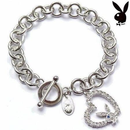 Playboy Bracelet Open Heart Bunny Charm Swarovski Crystals Platinum Pltd - Crystal Open Heart Charm
