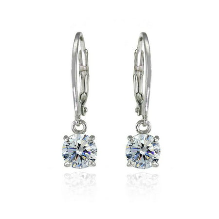 Sterling Silver Clear 6mm Round Dangle Leverback Earrings Made with Swarovski - Crystal Cross Dangle