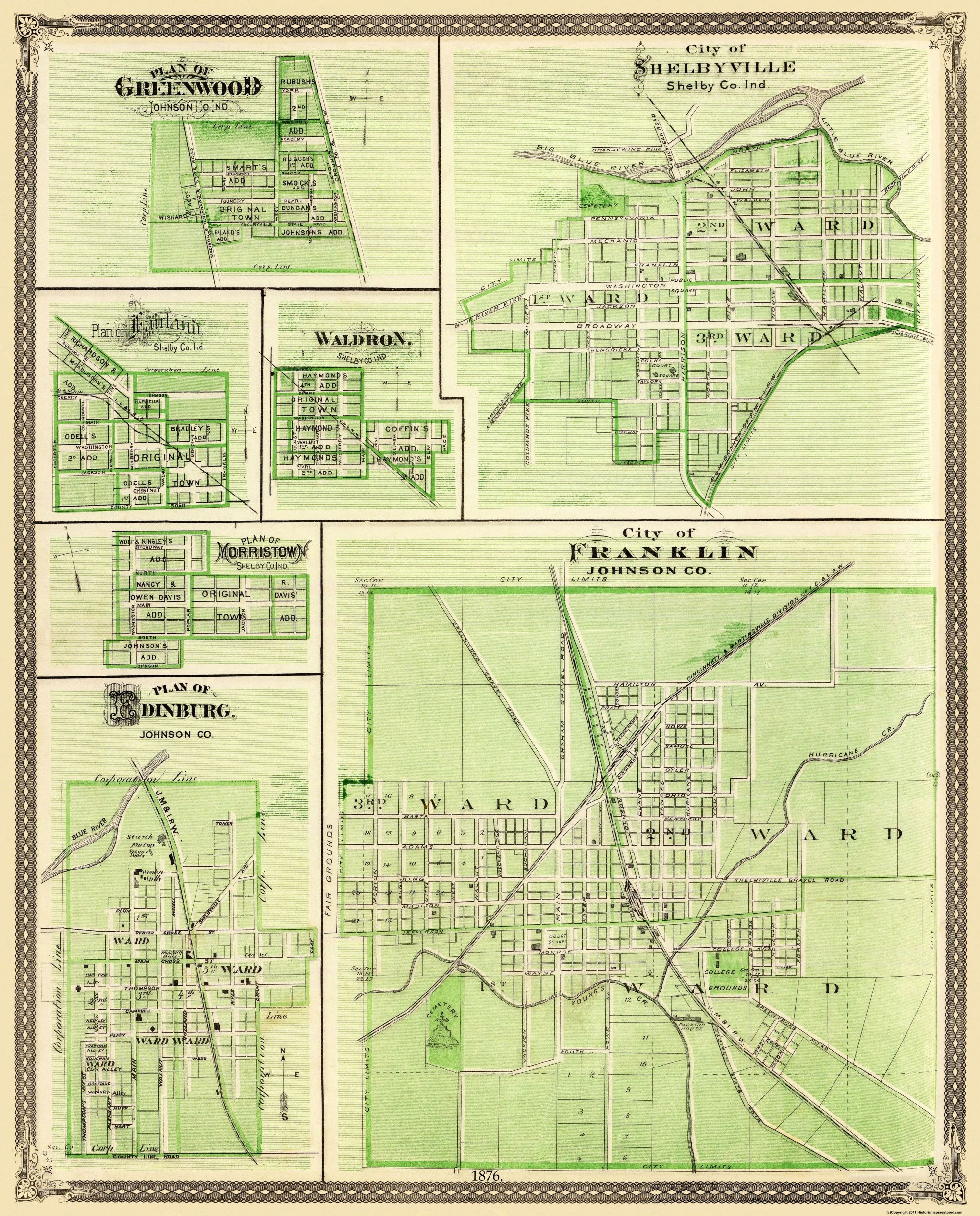 Old City Map Franklin Shelbyville Greenwood Indiana 1876 23 X