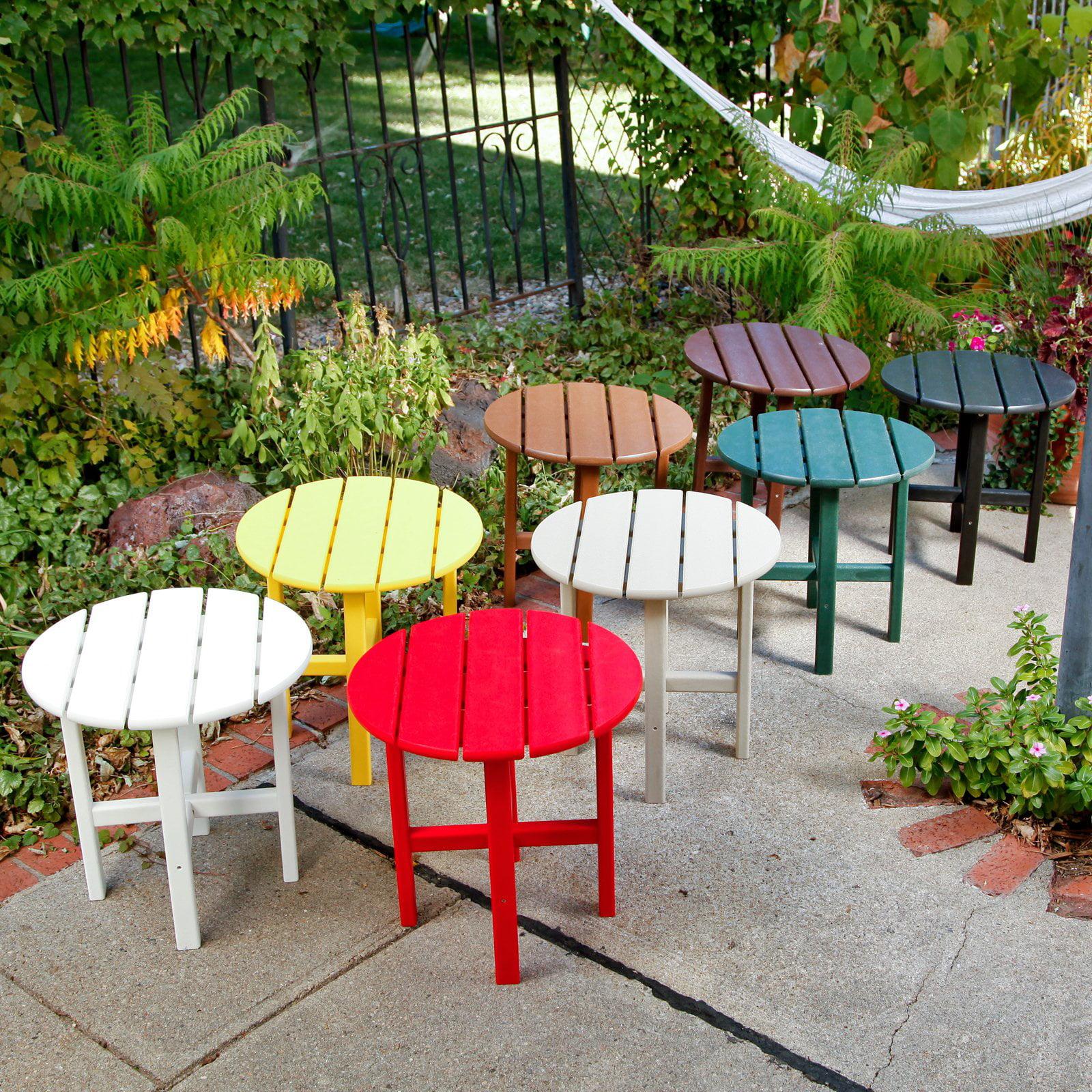 Amazing Polywood Vineyard Recycled Plastic 18 In Round Side Table Frankydiablos Diy Chair Ideas Frankydiabloscom