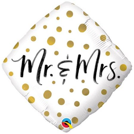 Qualatex 91216 18 in. Mr & Mrs Gold Dots Flat Foil Balloon - Pack of 5