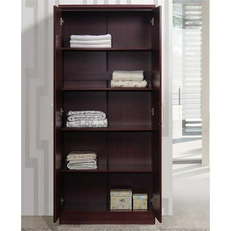 Hodedah 2 Door Armoire with 4 Shelves in Mahogany - image 1 de 6
