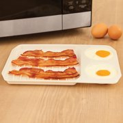 Jeobest Microwave Baking Pan - Microwave Baking Tray - Kitchen Microwave Egg Bacon Baking Tray for Breakfast Kitchen Cooking Tool Microwave Oven Baking Dish 11.1 x 7.87 x 0.71 inch MZ