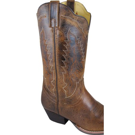 Smoky Mountain Boots Womens Amelia Brown Distress Leather 12in Western 7 M (Distressed Western Boots Women)