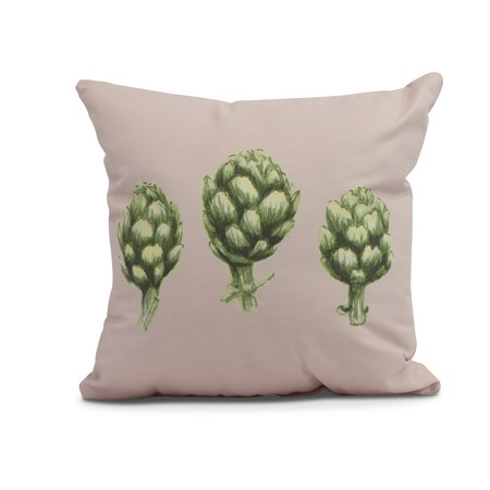 Simply Daisy, 16 x 16inch, Artichoke Outdoor Pillow, Pale Pink