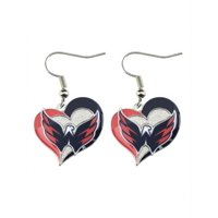 Washington Capitals Swirl Heart Earring NHL Sports Team Logo Dangle Charm Gift