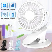 TSV Portable Clip on Fan, USB Rechargeable Battery Powered Clip-on Personal Desk Baby Fan Air Circulator Fan Quiet 3 Speed 360° Rotatabl Fan for Outdoor/Indoor Travel Office Stroller Camping