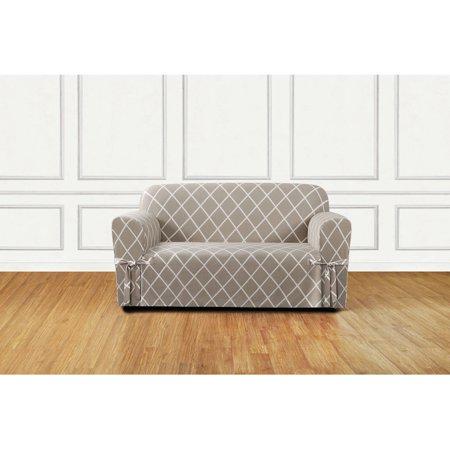 Enjoyable Sure Fit Lattice 1 Piece Straight Skirt Loveseat Slipcover Creativecarmelina Interior Chair Design Creativecarmelinacom