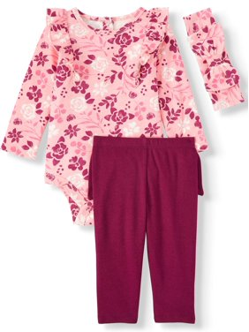 Miniville Baby Girl Long Sleeve Ruffle Bodysuit, Bow-back Leggings & Headband Outfit Set, 3-Piece