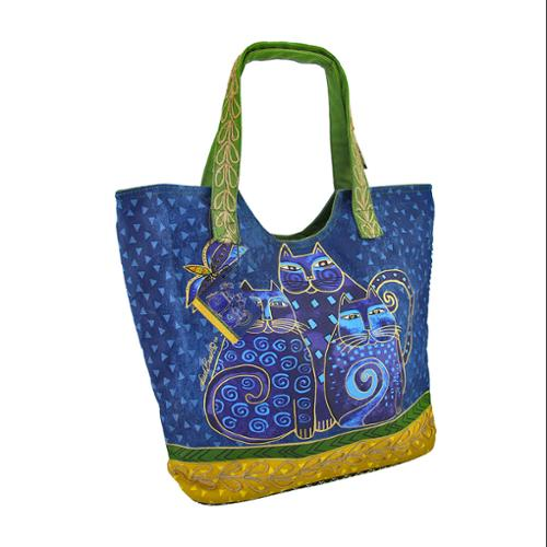 Laurel Burch `Indigo Cat` Denim Large Scoop Tote