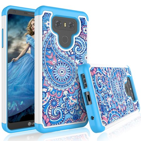 LG G6 Case, LG G6 Case For Girls, Tekcoo [Tmajor Series] Retro Pattern Lovely [Paisley Blue] Bling Crystal Studded Rhinestone Adorable Rubber Plastic Sturdy Bumper Cases Cover For LG G6 -