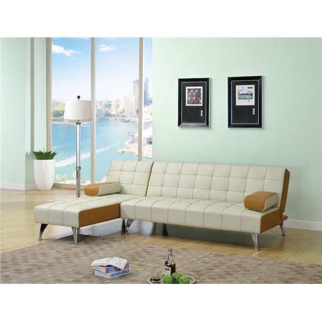 HomeRoots 285675 29 x 66 x 66 in. Hailey Adjustable Sofa  Blue & Black Flannel
