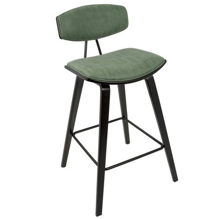 Strange Damato 26 Mid Century Modern Counter Stool In Espresso With Green Fabric By Lumisource Set Of 2 Squirreltailoven Fun Painted Chair Ideas Images Squirreltailovenorg