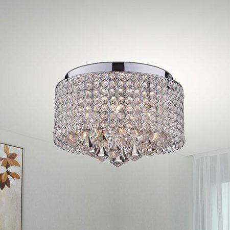 light chrome and crystal drum shade flush mount chandelier walmart