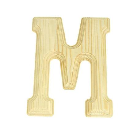 Pine Wood Beveled Wooden Letter M, Natural, 6-Inch