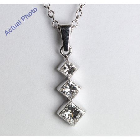 18k White Gold Invisible Setting Three Stone Princess Cut Diamond Pendant (0.5 Ct, H Color, SI1 Clarity)