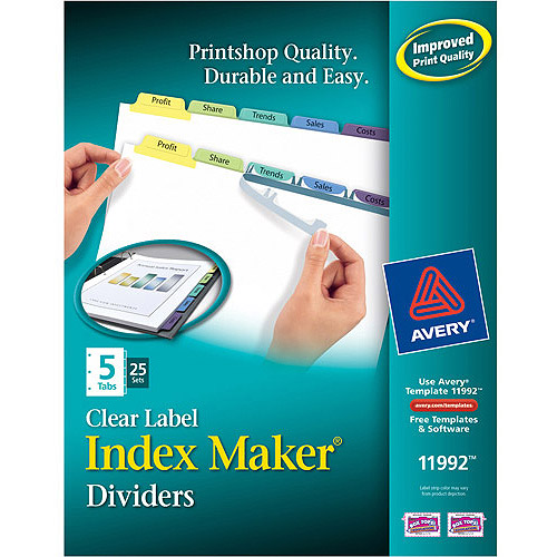 Avery Index Maker Unpunched Clear Label Dividers with Contemporary Color Tabs
