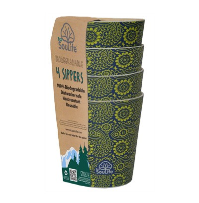 EcoSouLife Bamboo 8.4 Oz. Sipper Cup Set (Set of 4), Paisley