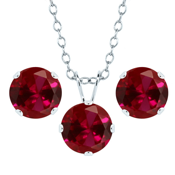 4.65 Ct Round 7mm Red Created Ruby 925 Sterling Silver Stud Pendant Earrings Set