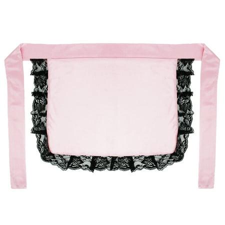 SeasonsTrading Adult/Teen Pink Nurse Maid Apron with Black Lace Ruffles Costume Accessory](Black Nurse Costumes)