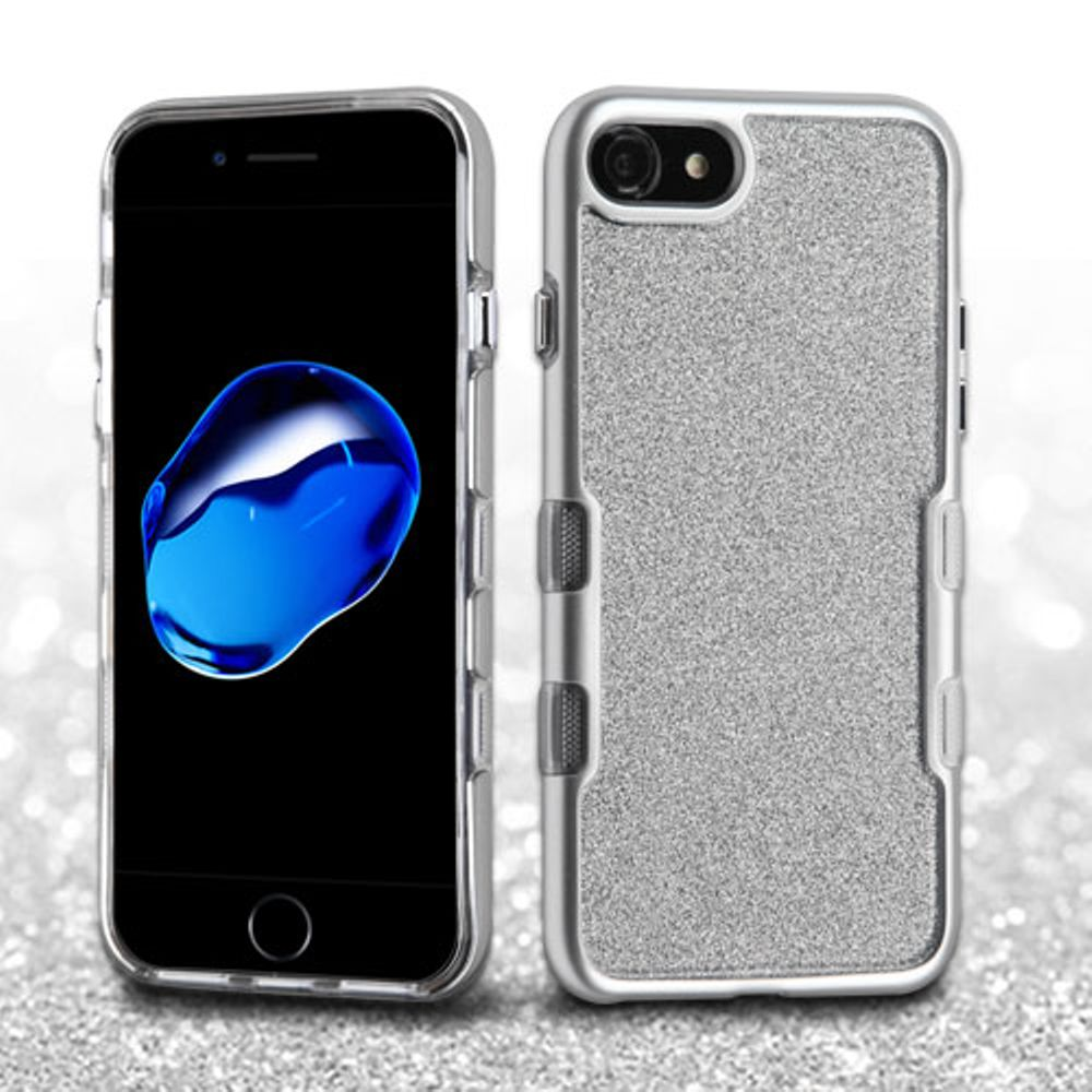 iPhone 8 Case, iPhone 7 Case, by Insten Metallic Full Glitter TUFF Panoview Hybrid Hard/TPU Case Cover For Apple iPhone 8 / iPhone 7 - Black/Clear Silver - image 1 de 3
