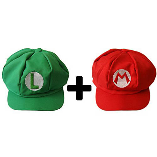 2-Piece Super Mario Bros Hats, Red and Green