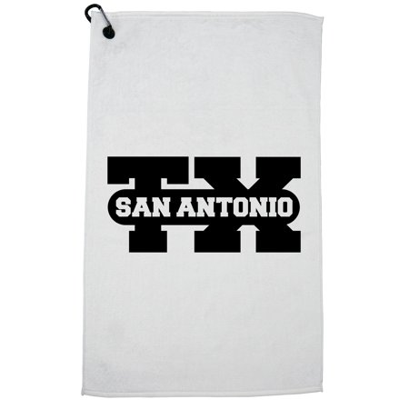 San Antonio, Texas TX Classic City State Sign Golf Towel with Carabiner Clip (Monster Mini Golf San Antonio)