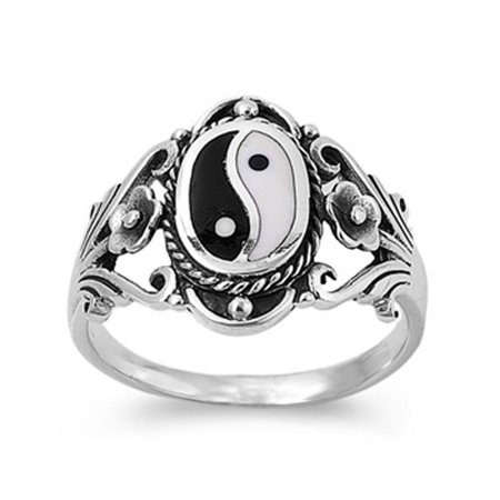 Sterling Silver Women's Chinese Yin Yang Ring ( Sizes 6 7 8 9 10 11 12 ) Wholesale 925 Band 18mm Rings by Sac Silver (Size 6)