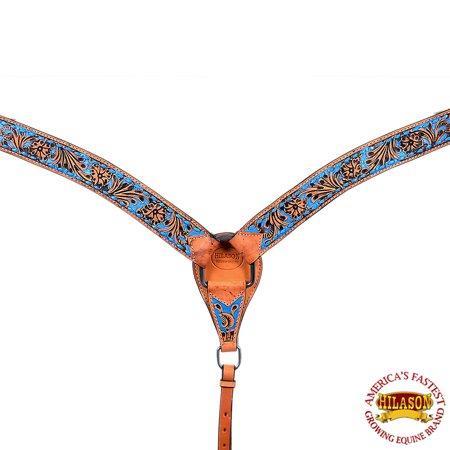 Tex Tan Leather Breast Collar - Hilason Western Horse Breast Collar American Leather Tan Floral Turquoise