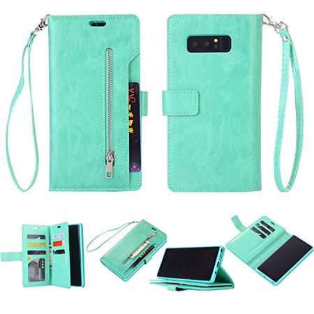 Galaxy Note 8 Zipper Wallet Case, Allytech [Magnetic Closure]  Multi-Functional Handbag Stand Function Folio PU Leather Flip Cover Inner  Soft TPU Case