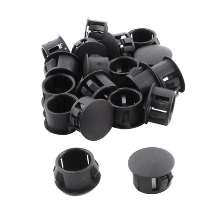 SKT-14 17mm Head Dia Plastic Round Locking Hole Plug Button Cover Black 19pcs