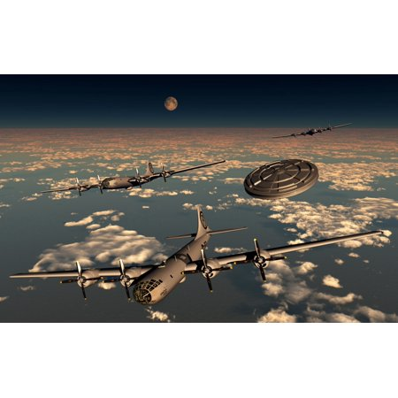 A Ufo Buzzing A Group Of B 29 Superfortress Aircraft Over The Pacific Ocean During World War Ii Poster Print