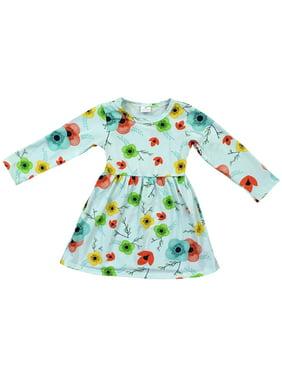 80cbe04b615 Product Image Little Girl Kids Long Sleeve Crew Neck Flowers Print Simple  Flower Girl Dress Green 2T XS