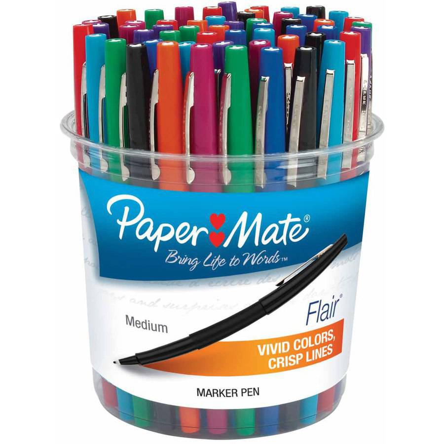 Paper Mate Flair Acid-Free Fast Dry Point Guard Pen Set, Felt Medium Tip, Assorted Colors, Set of 48