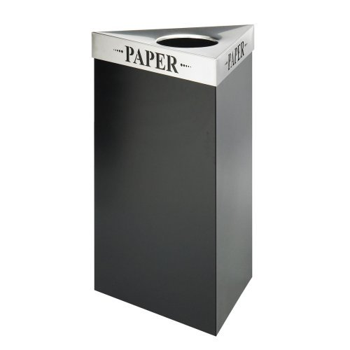 Safco Trifecta 17 Gallon Waste Receptacle Black Recycling Bin